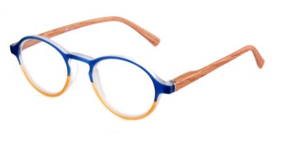 Runde Two Tone Lesebrille blau mit Bügeln in Holz-Optik