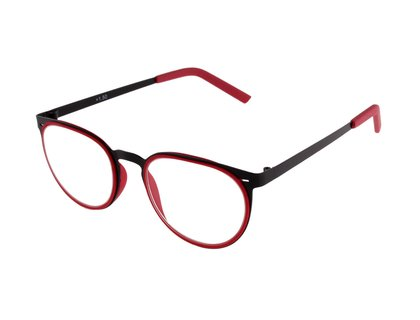 Metall Lesebrille in Retro Form rot